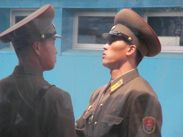 g. 会議場の中から見た北朝鮮兵士(2)